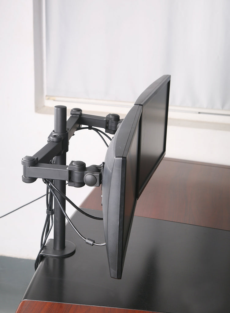 Dual LCD LED Monitor Desk Mount Stand Heavy Duty Fully Adjustable Arm fits 2 / Two Screens up to 27