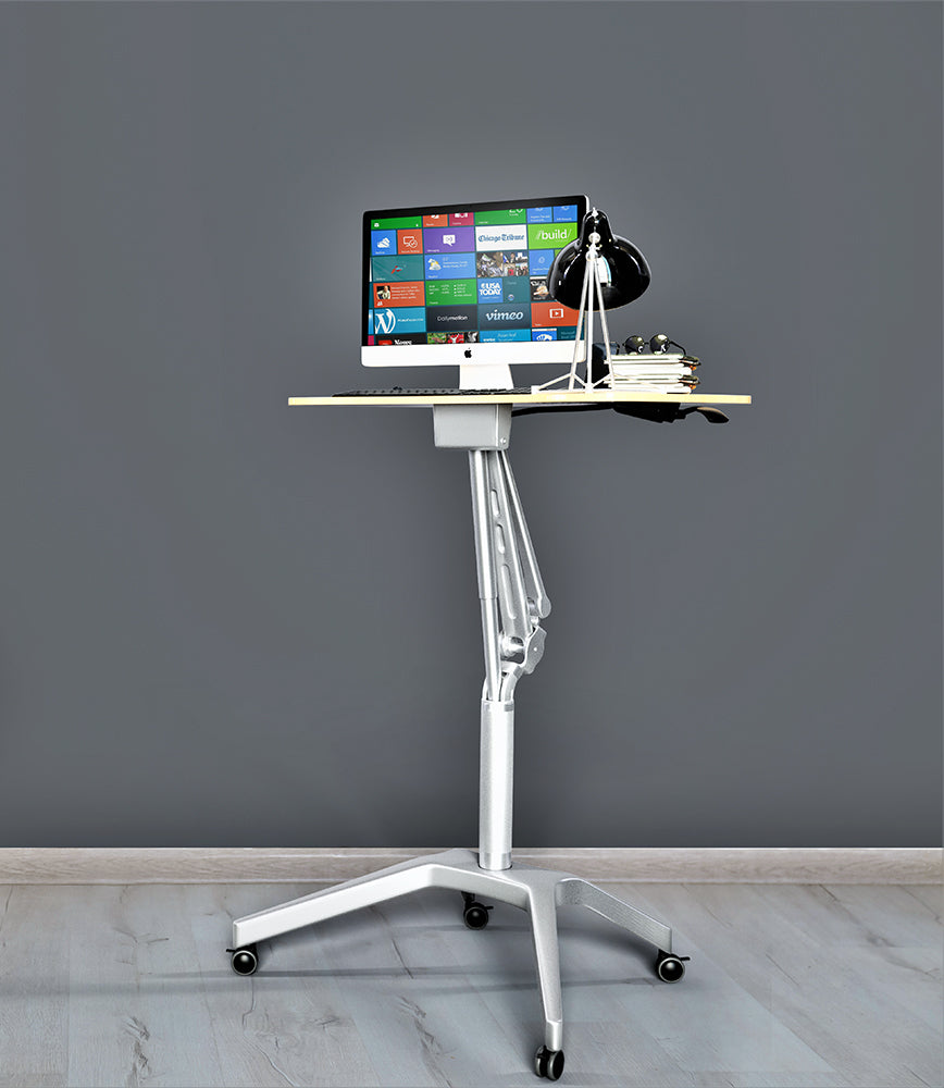 Pneumatic Sit-Stand Mobile Laptop Cart, Height Adjustable Multi-Purpose Rolling Podium Lectern with Wheels Laptop Workstation, Silver