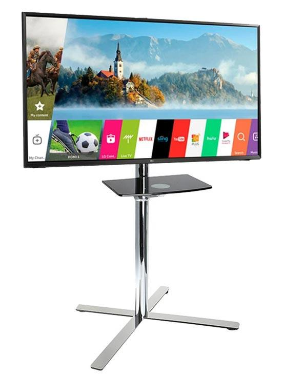 Fashional TV Movable Stand Floor Stand With Wheel for TV Size up to 60 inch, Flat Screen Television Base Stand, Max Support 30KG Weight, Silver