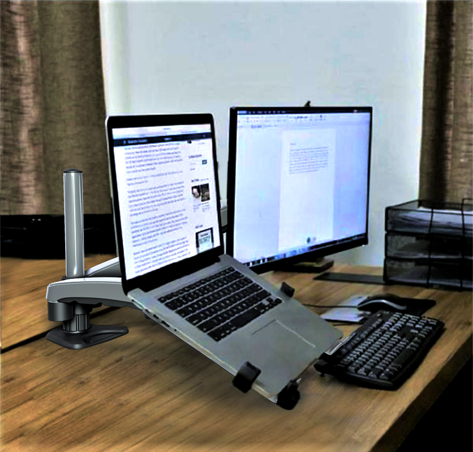 Gas Spring Monitor and Laptop Desk Mount, Single Gas Spring Arm Stand/Holder up to 27