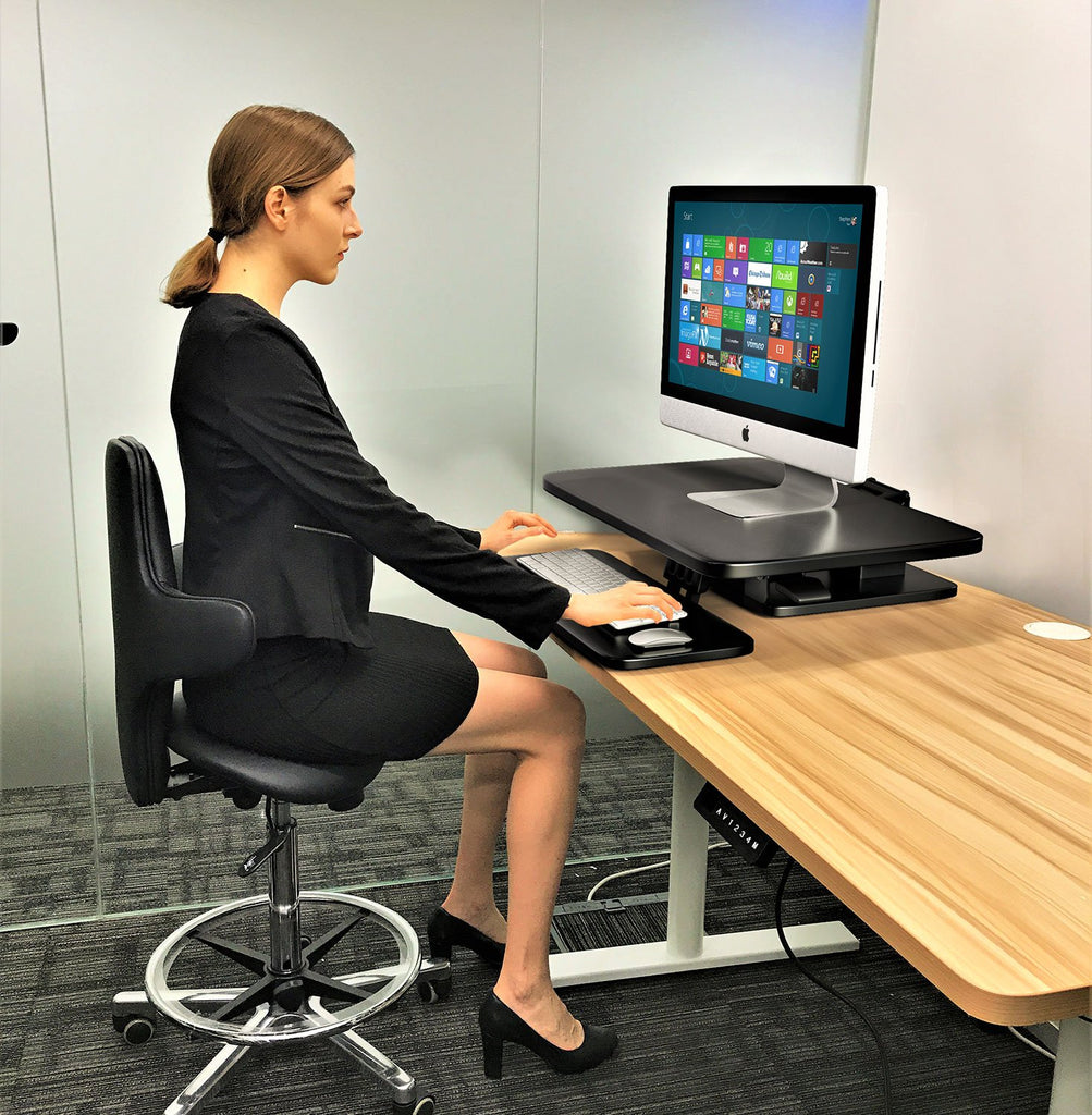 Sit to Stand Desktop Riser Black with Pneumatic adjustment (Black colour) Model No RDFP-B