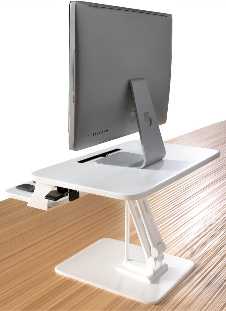 Sit to Stand Desktop Riser White with Pneumatic Adjustment, White (RDFP)
