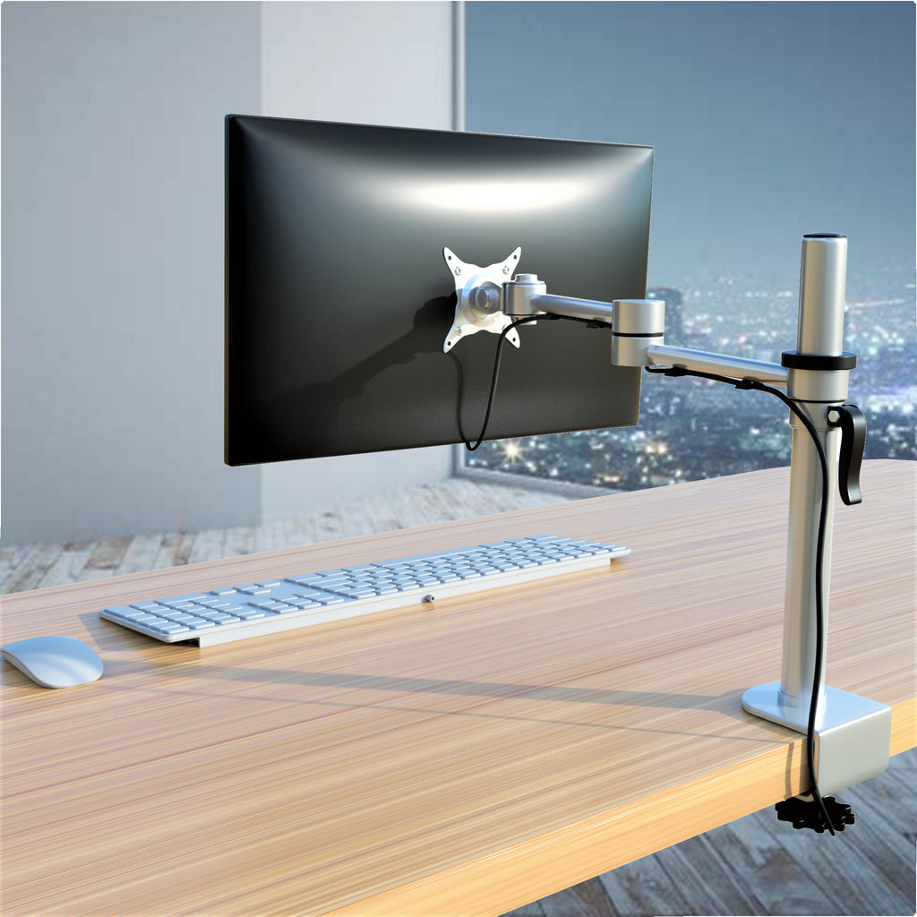 Single Monitor Heavy Duty Aluminum Desk Mount Stand, Fully Adjustable, Fit Screen up to 32 inch, 44 lbs Max, VESA 75 and 100mm, Silver (RPCH1S)