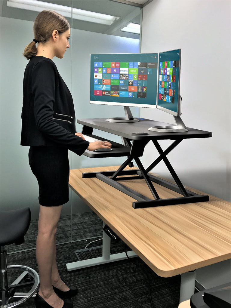 ELECTRIC Dual Monitor/Laptop Sit-Stand Desk Converter, Pain Free Height Adjustments, 35 Inch Wide Worksurface, Black, Model No (RTE900)