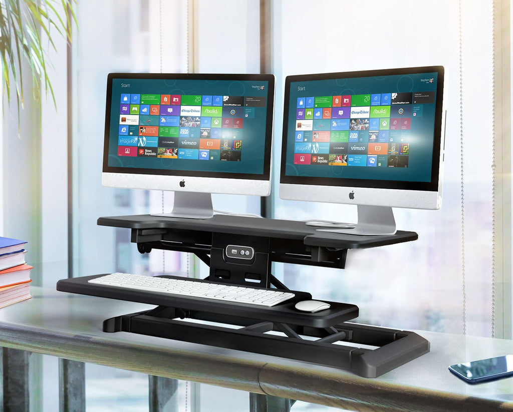Electric Sit Stand Workstation Standing Desk Converter-Pain free Adjustments (RTEL)