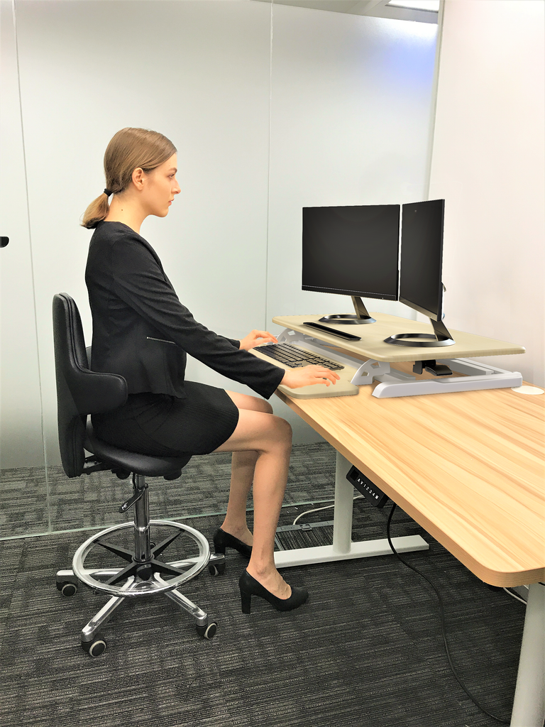 Wooden Colour Top Instant Standing Desk Sit-Stand Desk Converter for Laptop, 1 or 2 Desktop, Stepless Any height lock Height Adjustable, Ergonomic, Gas Spring, Easy Installation