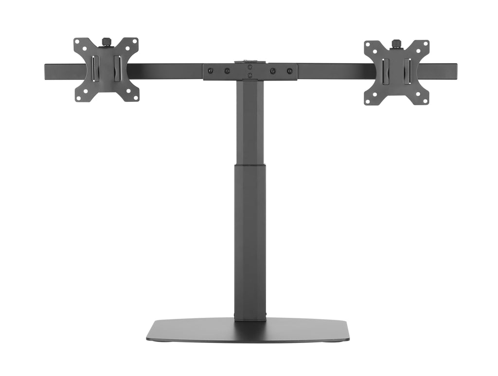 Freestanding Pneumatic Vertical Lift Dual Monitor Stand - Adjustable Monitor Mount, Fits 2 Screens up to 27 Inch, Holds up to 6 kgs per Arm