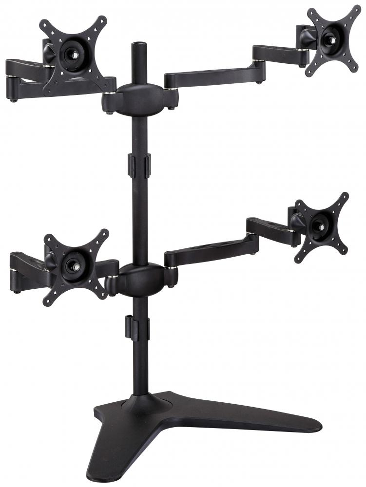 "Quad Monitor Stand Freestanding, Adjustable/Tilt/Swivel/Rotate, Supports Monitors up to 24"", Adjustable VESA 50x50mm, 75x75mm, 100x100mm Four Monitor Stand for 4 Screen Setup - Black (4MSFP-T)"