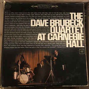 The Dave Brubeck Quartet ‎– At Carnegie Hall - USED VINYL