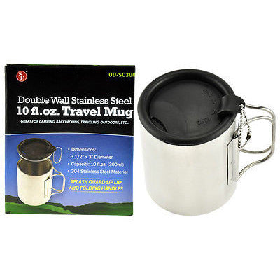 10fl oz Stainless Steel Double Walled Travel and Camping Mug  Coffee Cup W/ Lid - Cedar Creek Outdoors - 1
