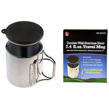 7.4 fl oz Stainless Steel Double Walled Travel and Camping Mug Coffee Cup W/Lid - Cedar Creek Outdoors - 1