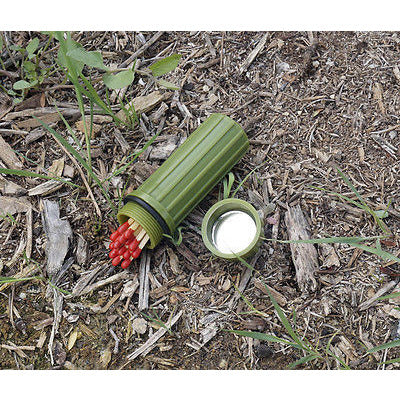 Green Waterproof Match Storage Box With Mirror & Flint - Cedar Creek Outdoors - 1