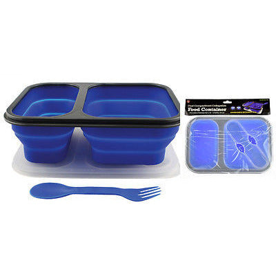 BPA Free Silicone Collapsible Dual Food Container W/ 2 In 1 Utensil on Lid - Cedar Creek Outdoors - 1