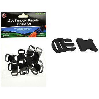 "12pc Black 1/2"" Paracord Bracelet Buckle Set - Cedar Creek Outdoors - 1"