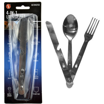 Stainless Steel Camping 4-IN-1 Combo Utensil Set - Cedar Creek Outdoors - 1