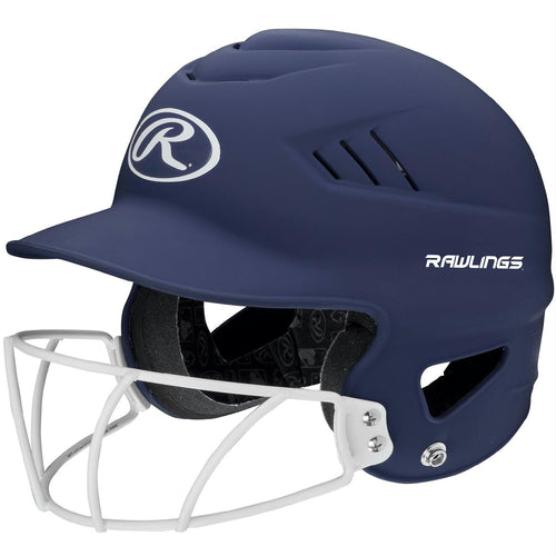 Rawlings Coolflo Highlighter Softball Helmet-Face Guard-Navy