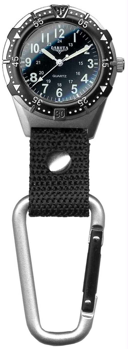 Dakota Men's Aluminum Backpacker Clip Watch - Black
