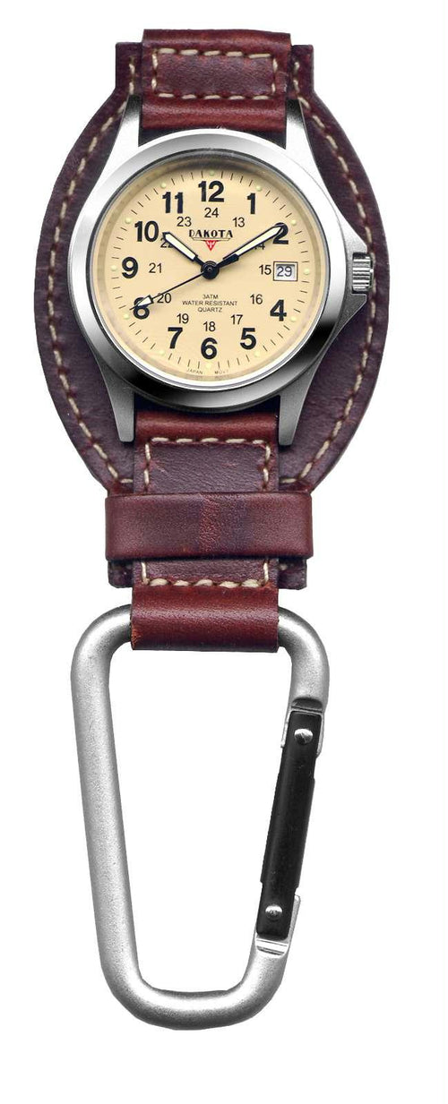 Dakota Brown Leather Field Clip Watch