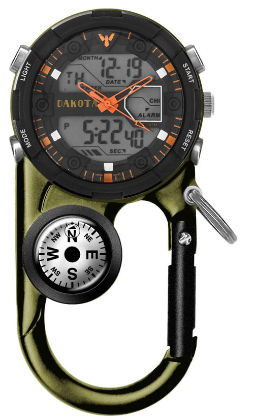 Dakota II Analog and Digital Clip Watch - Moss Green