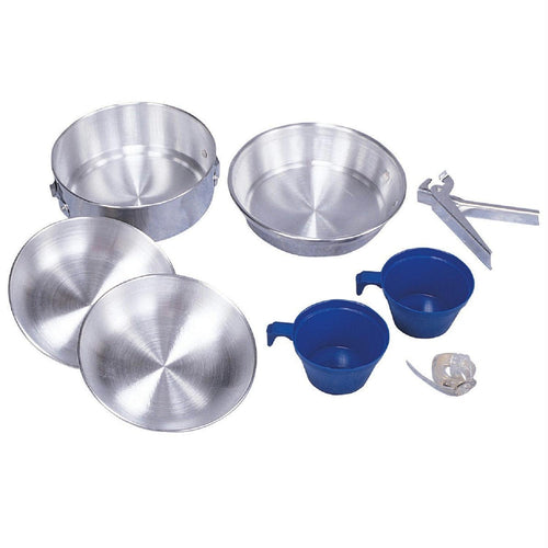 Stansport 8 Piece 2-Man Polished Aluminum Mess Kit