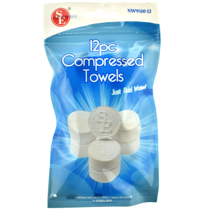 12 Tablet Wash Cloths Compressed Towels