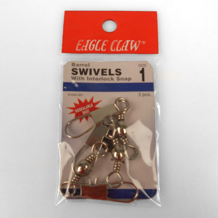 Eagle Claw Interlok Swivel Nickel Size1/0 3Pk