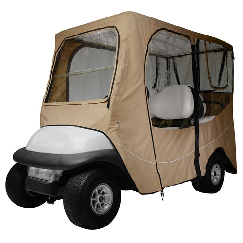 Classic Fairway Golf Cart Deluxe Enclosure Long Roof - Khaki