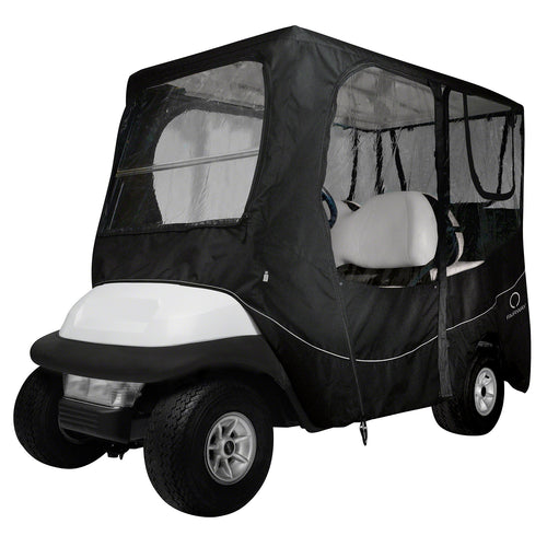 Classic Fairway Golf Cart Deluxe Enclosure Long Roof - Black