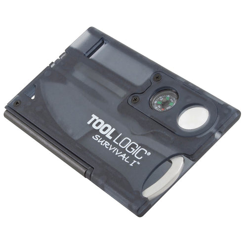 Tool Logic Survival Card with Fire Starter Compass Charcoal