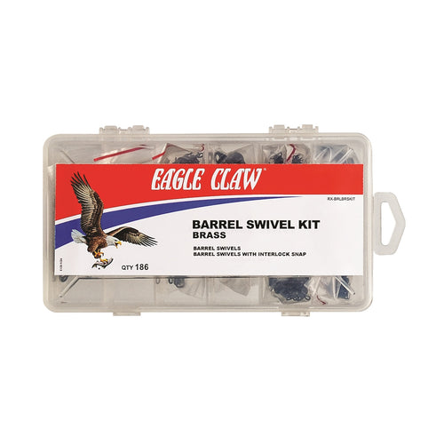 Eagle Claw Brass Barrel Swivel Kit with 186 Pieces
