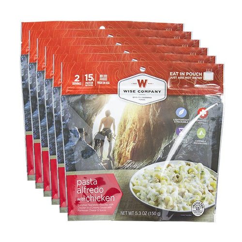 6ct Pack - Outdoor Pasta Alfredo with Chicken (2 Serving Pouch) - Cedar Creek Outdoors