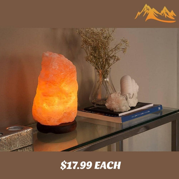Natural Himalayan Salt Lamps - HSS Handmade Natural Pink Himalayan Salt Lamp, 7- 8 Inches, Neem Wood Base, 1 Bulb, 6 Feet UL Approved Cord With Dimmer Switch