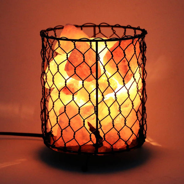 Natural Himalayan Salt Basket Lamp (Dimmable Switch)