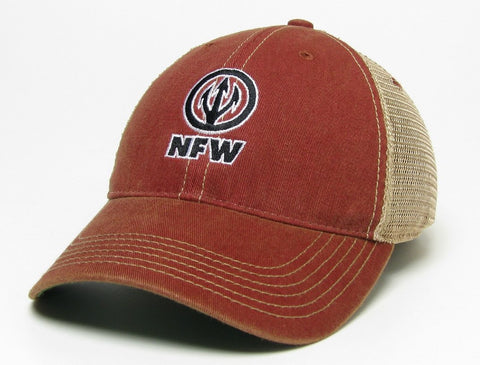 NFW Trident Trucker Hat, Vintage Nantucket Red