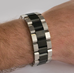Brushed Black and Steel WristBracer Men's Bracelet