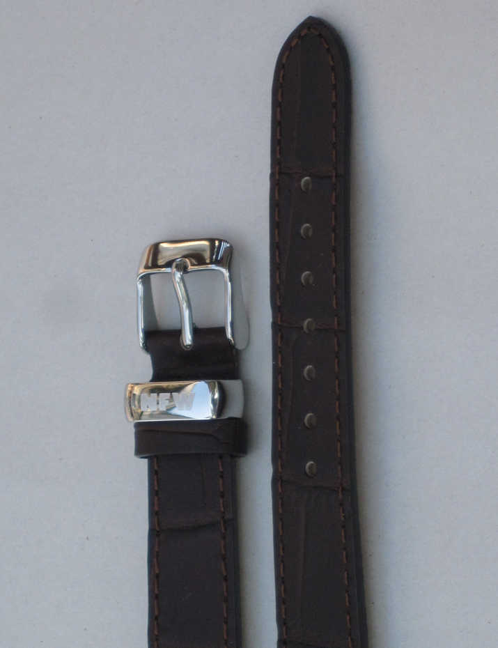 Ladies Milan Chocolate Brown Croco-Grain Leather Strap