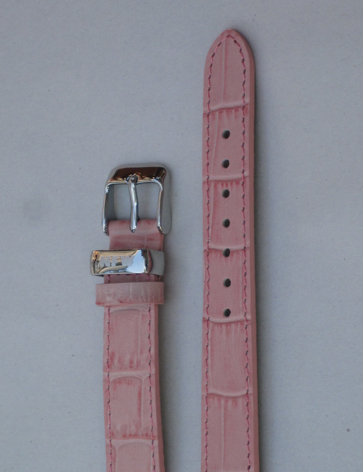 Ladies Milan Pink Croco-Grain Leather Strap