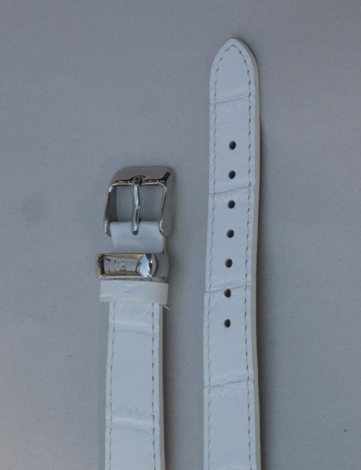 Ladies Milan White Croco-Grain Leather Strap