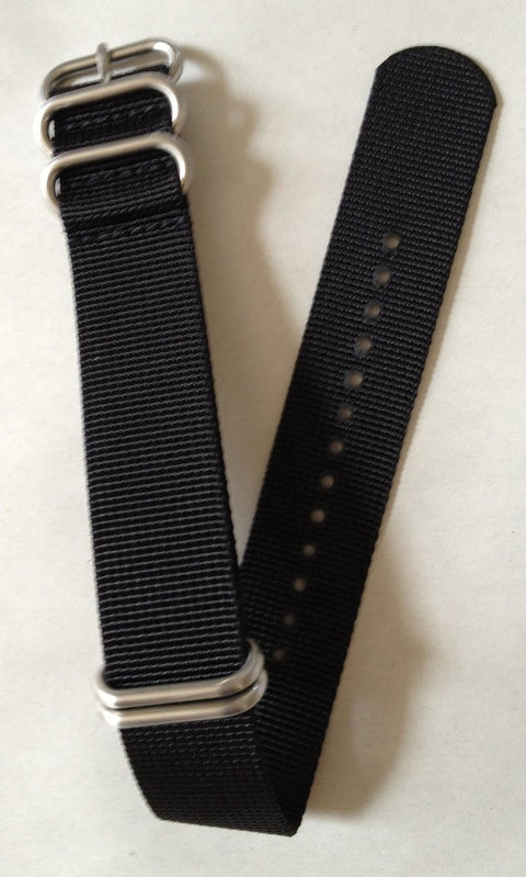 NFW NATO Strap, Black Nylon, Stainless Steel Rings