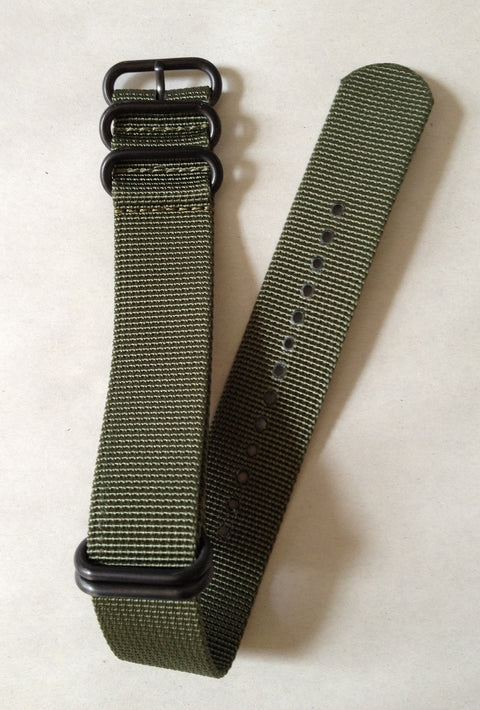 NFW NATO Strap, Olive Green Nylon, Black Steel Rings