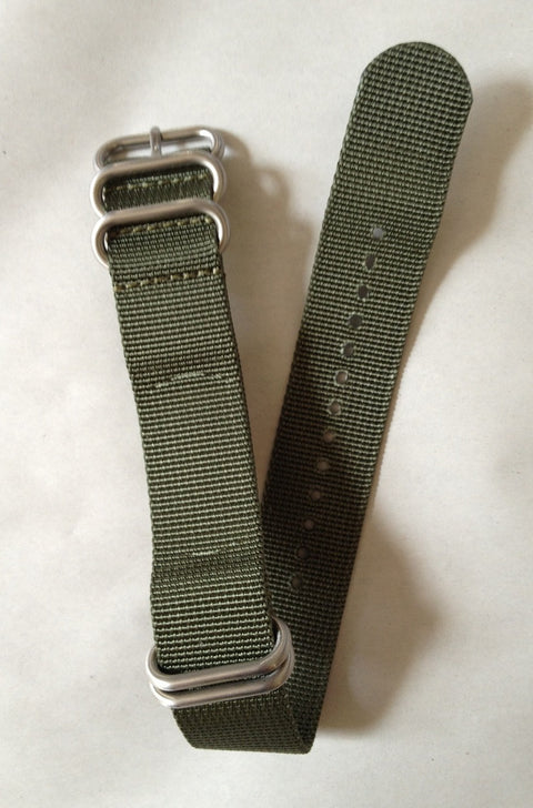 NFW NATO Strap, Olive Green Nylon, Stainless Steel Rings
