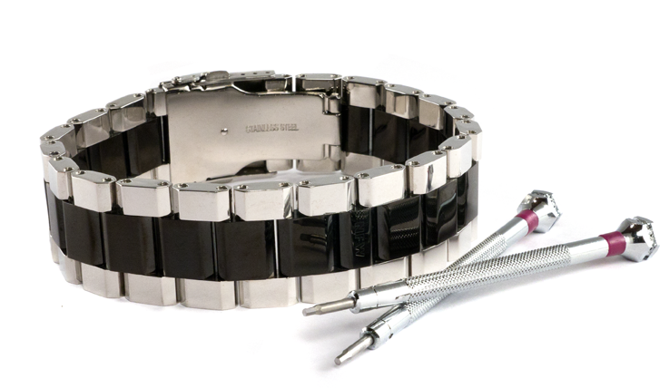 Polished Black and Steel WristBracer Men's Bracelet