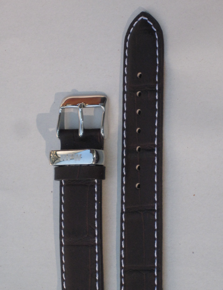 Lotus Chocolate Brown Croco-Grain Leather Strap