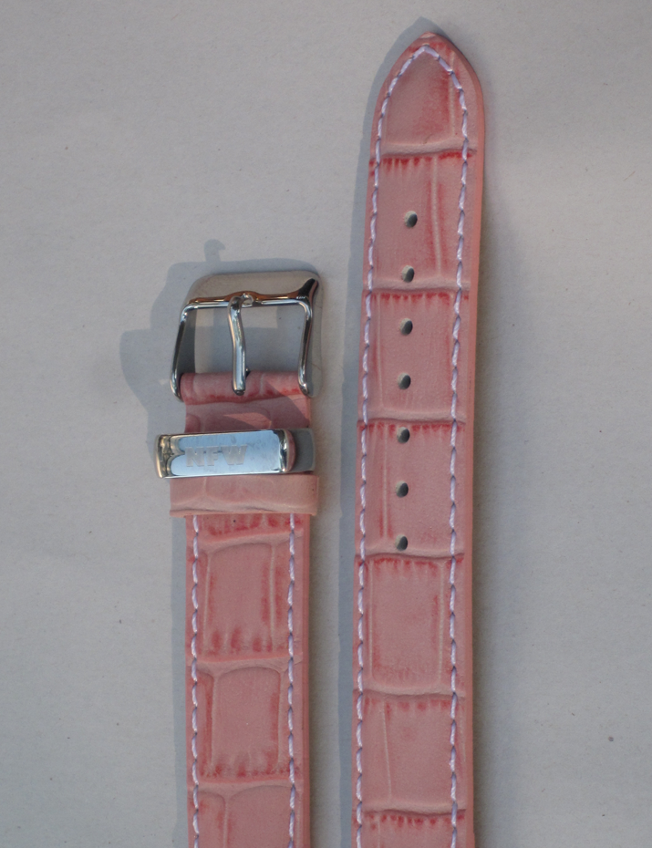 Lotus Pink Croco-Grain Leather Strap