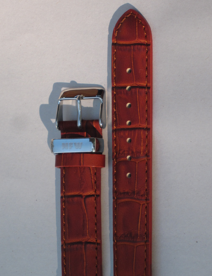Lotus Tobacco Brown Croco-Grain Leather Strap