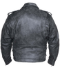 Men's Motorcycle riding Distressed Grey Police style leather jacket with 2 Gun pockets inside