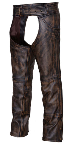 Mens Motorcycle Jean pocket Retro Brown Premium Cow Hide Leather Chap Pant