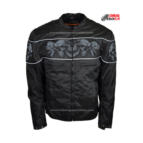 Men's Motorcycle Reflective Skull Textile jacket with 2 Gun pockets inside