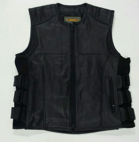 MEN'S BIKER SWAT UPDATED TEAM STYLE LEATHER BIKER VEST WITH SINGLE PANEL BACK