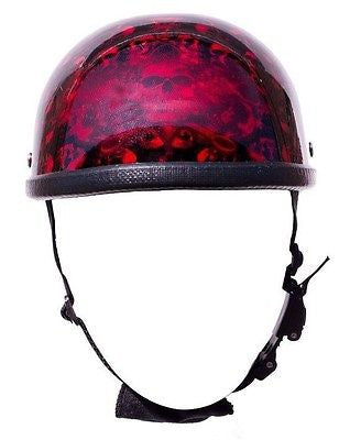 MOTORCYCLE RIDERS EAGLE BURGANDY SKULL GRAVEYARD HALF HELMET NOT DOT GR8 PRICE